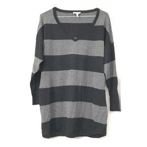 Joie Black and Gray Stripe Three Quarter Sleeves